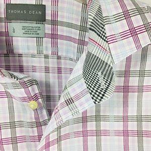 Thomas Dean white purple plaid button down shirt L